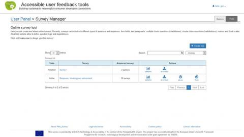 Screenshot of the Polls and Surveys Tools developed by ILUNION